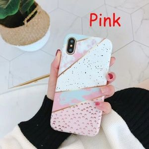 Iphone X Pink Marble Gold Lines PolkaDot Case Cove